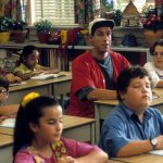 Adam Sandler sitting at a desk in a class for children in a scene from the film 'Billy Madison', 1995. (Photo by Universal Pictures/Getty Images)